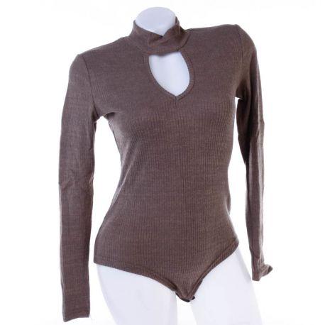 Csepp kivágású, bordázott anyagú, puha női body (N38404)
