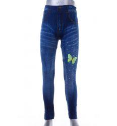 Színes lepkés, köves, farmeres lány elasztikus leggings (A707-4)