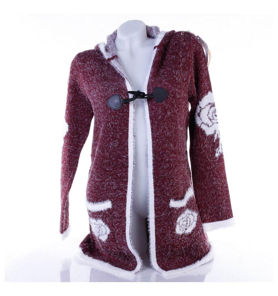 2fbd1df2eb Rózsás, pihe-puha szőrmés, kapucnis női kardigán (LV5197)