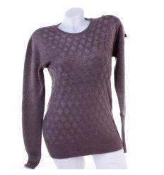Anyagában mintás, szőrmés, női pulóver, felső (YR6560)