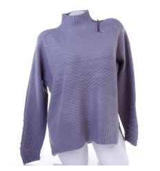 Ujján gyöngyös, félgarbós női kötött pulóver, felső (LG6612)