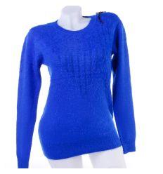 Pihe-puha, kerek-nyakú női rugalmas kötött felső, pulóver (YR6555)