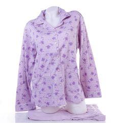 Virág mintás, végig gombos, pamut női hosszú ujjú pizsama (394)