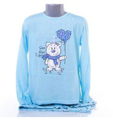 Macis-szíves pamut lány hosszú ujjú pizsama (GB-7224)