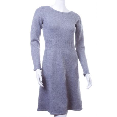 Derekán mintás, lefelé bővülő, rugalmas, kötött anyagú női tunika, ruha (LV5136)