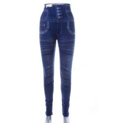 Farmeres, magas derekú, koptatott mintás női leggings (702-52)