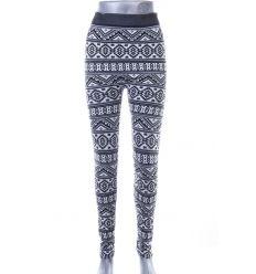 Ambsztrakt mintás, belül bolyhos, rugalmas női leggings (750-52)
