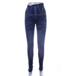 Farmeres, magas derekú, cikk-cakk zsebmintás női leggings (702-52)
