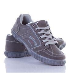 Oldalán feliratos, fűzős, műbőr férfi cipő (6213)