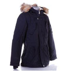 Szőrmés kapucnis, bunda béléses, gyerek vászon anyagú kabát (X11)