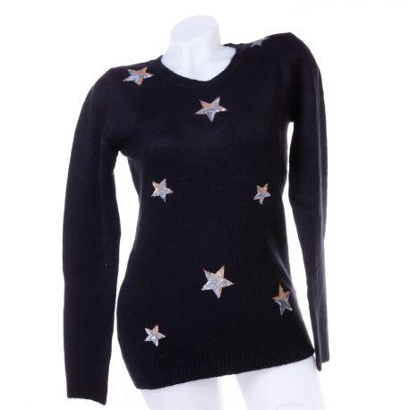 Flitteres csillag mintás, puha kötött női pulóver, felső (K6516)