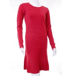 Egyszínű, alján bővebb fazonú női kötött hosszúujjú ruha (K6530)