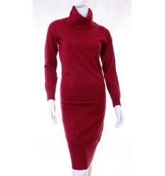 Egyszínű, garbós, alján húzott női puha, kötött, hosszúujjú ruha (F5780)
