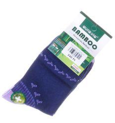 Apró levélke mintás, bambuszos női normál zokni (NZ-005)
