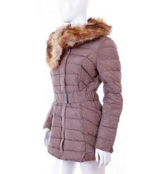 Bundás, szőrmegalléros, női téli kabát steppelt mintás (WS-1706-3)