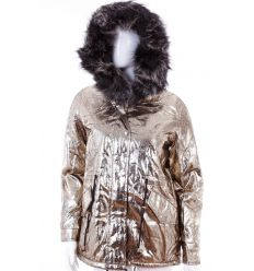 Bundás, fényes arany színű, szőrmés kapucnis női kabát (Z-609-8)