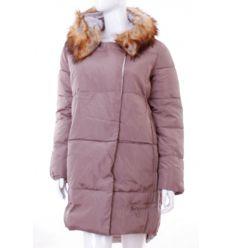 Bundás, szőrmés kapucnis, rejtett cipzáros női félhosszú téli kabát (WS-1708-8)