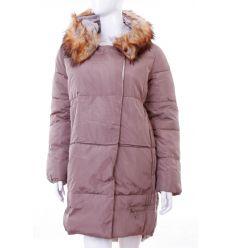 fa15f3592553 Bundás, szőrmés kapucnis, rejtett cipzáros női félhosszú téli kabát  (WS-1708- ...