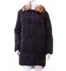 Bundás, szőrmés kapucnis, rejtett cipzáros női félhosszú téli kabát (WS-1708-1)