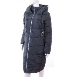 Bundás, ezüst cipzáras, steppelt mintás, női hosszú téli kabát (WS-1713-20)