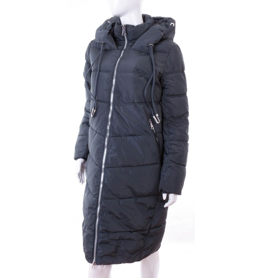 7698565e44 ... Bundás, ezüst cipzáras, steppelt mintás, női hosszú téli kabát (WS-1713  ...