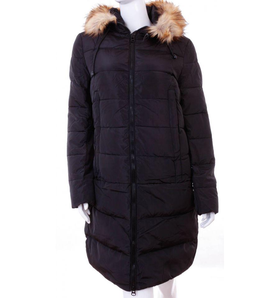 22dcca0678 Bundás, szőrmés kapucnis, steppelt mintás női hosszú téli kabát (WS-1712-  ...
