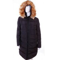 Bundás, szőrmés kapucnis, steppelt mintás női hosszú téli kabát (WS-1712-1)
