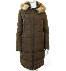 Bundás, szőrme kapucnis, steppelt mintás női hosszú téli kabát (WS-1712-7)