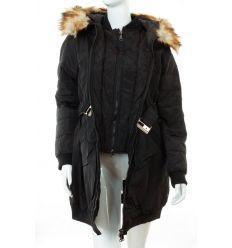 Bélelt, dupla cipzáros, szőrmés kapucnis női kabát (WS-1710-1)