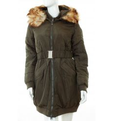 Bélelt, szőrmés kapucnis, dupla cipzáros női hosszú kabát (WS-1710-11)