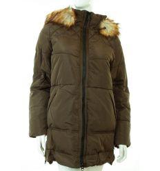 Bundás, szőrmés kapucnis, alul cipzárral állítható bőségű női téli kabát (WS-1711-1)