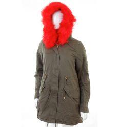 Bundás, piros szőrmés, derekán összehúzható, vászon női kabát (Z-617-3)