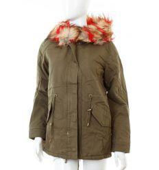 Bundás, csíkos szőrmés kapucnis női vászon kabát (Z-618-3)