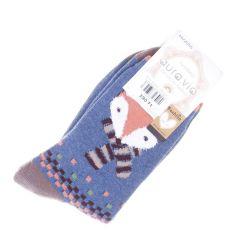 Róka mintás, pamutos, termo női vastag normál zokni (NV2055)