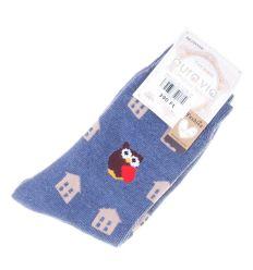 Baglyos, ház mintás, pamutos női normál termo vastag zokni (NV2058)