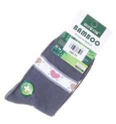 Szárán szíves mintás, bambuszos női normál zokni (NZ031)