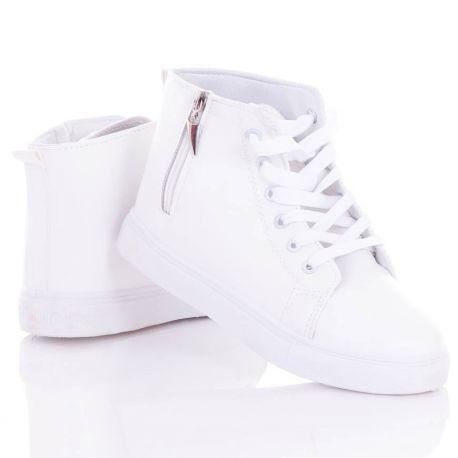 Cipzáras, egyszínű, vastag talpú, magasszárú női műbőr tornacipő (L72416,L72415)