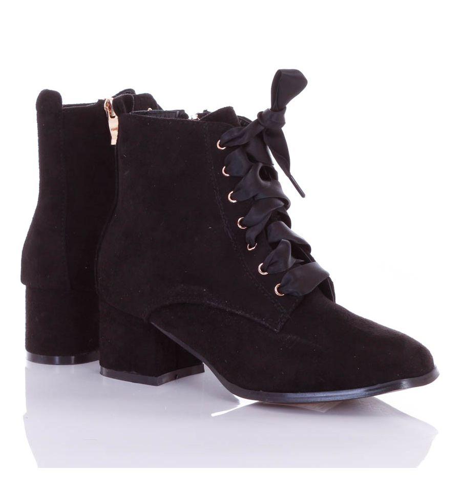 5936fcedbc Szalagos fűzős, cizpáros, bélelt, magasszárú női velúr cipő (L72421)