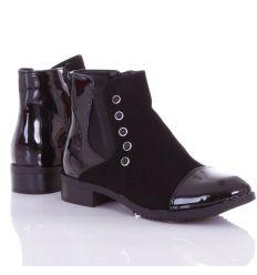 Orrán-sarkán lakkos, gumis, díszített női bokacsizma, cipő (L72450)