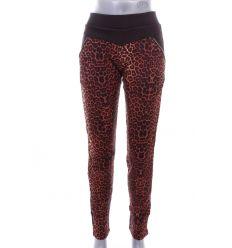 Elöl leopárd mintás, bunda béléses, pamutos női leggings, nadrág (LT-7334C)