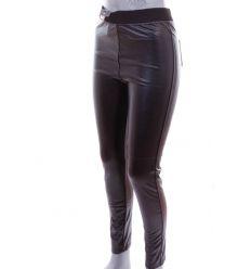 Műbőr, barna emblémás gumis derekú, rugalmas női leggings, nadrág (Y258-13)