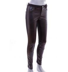 Elöl műbőr, fenekén zsebes női rugalmas anyagú nadrág, leggings (PL-496)