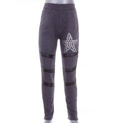 Bundás, csillag szegecses, térdénél bőrbetétes lány leggings, nadrág (7448)