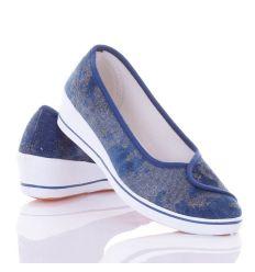 Farmeres, arany mintás, éksarkú női vászon cipő (ZY1707-11)