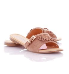 Velúros, rojtos pántú, kis csatos női papucs (AG-9001)