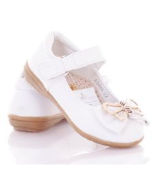 Arany masnis, bokapántos, harántemelős lány műbőr balerina cipő (A9488)