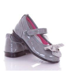 Strasszköves-masnis, bokapántos, harántemelős, lakk lány balerina cipő (A9376)