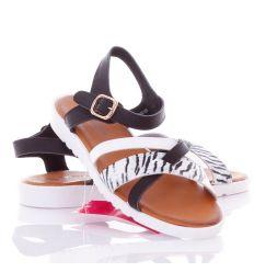 Elöl zebrás, keresztpántos női műbőr szandál, saru (AG-9005)