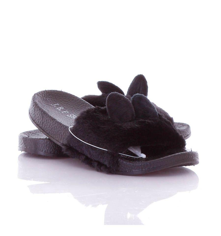 d9e6dc2b09 Cuki füles, szőrmés pántú női gumi papucs (806-2)