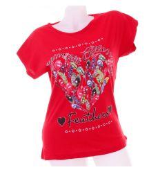 Tollas, szív mintás, denevérujjú női pamut felső, póló